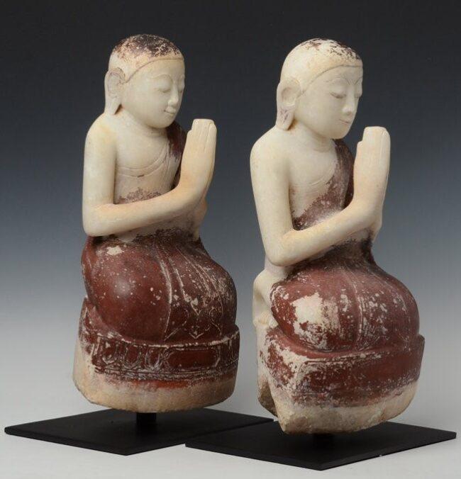 pair of Burmese Alabaster Seated Disciples