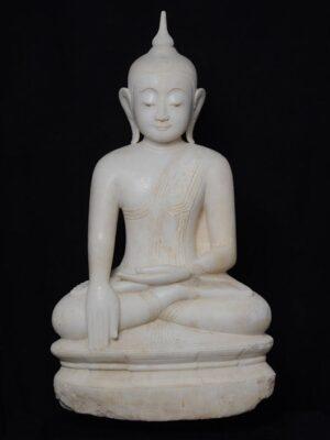 Buddha birmano seduto, in alabastro