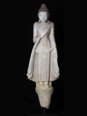 Buddha birmano in piedi, in alabastro