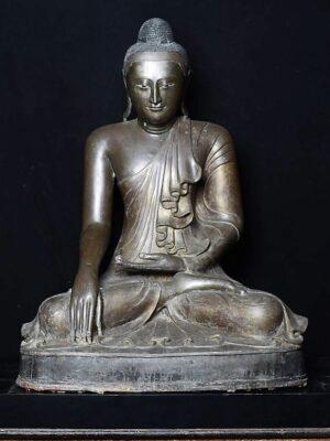 Buddha birmano seduto, in bronzo
