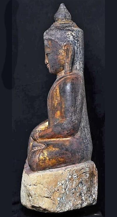 Burmese Sandstone Seated Buddha