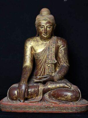 Buddha birmano seduto, in legno