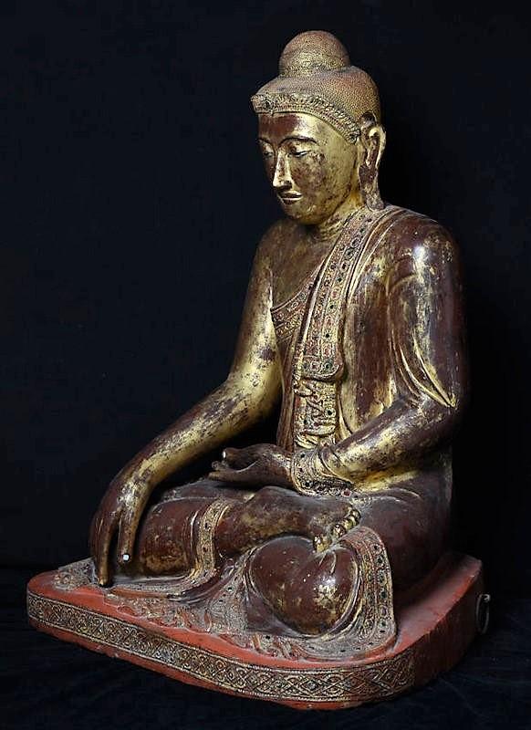 Burmese Wooden Seated Buddha