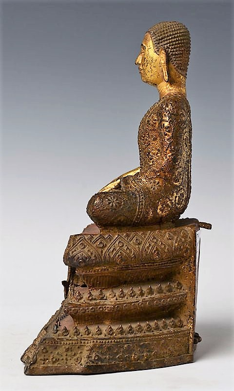 Thai Bronze Seated Disciple with Gilded Gold